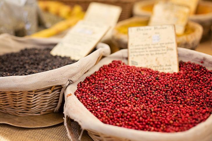 tõusis, talupidaja turul, seemned, saagi, vürtsid, toidu, turu