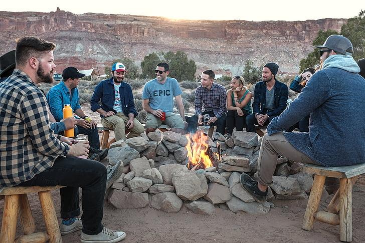 people, circle, bonfire, men, fire, flame, camping