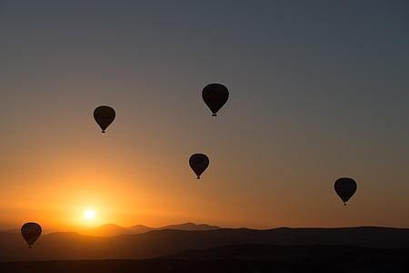 siluett, Foto, heta, luft, ballong, solnedgång, Hot-air ballooning