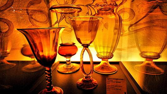 glas, rød, flaske, vase, transparenter