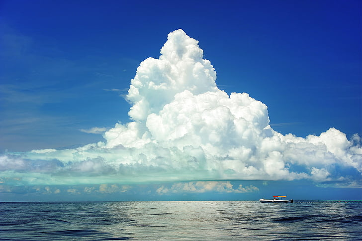 sea, boat, clouds, cumulous, marine, ocean, travel