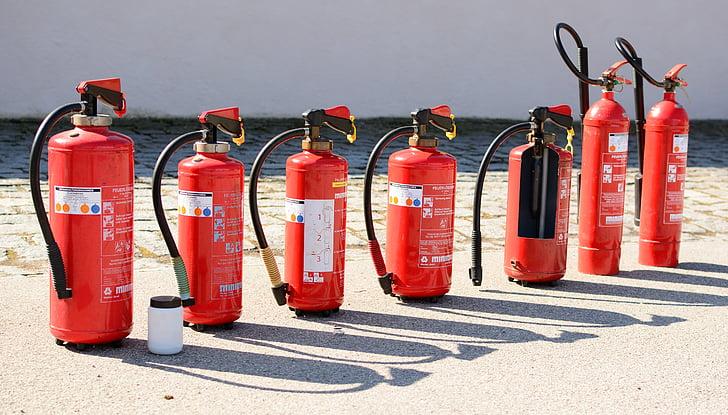 feu, d'extinction d'incendie, lutte contre l'incendie, matériel, brûler, supprimer, rouge