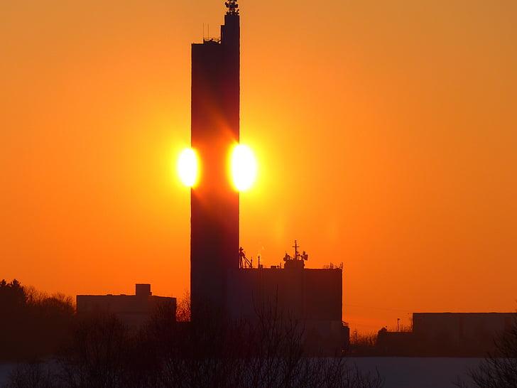 sonnenkugel, siltuma, ugunīgs, saulriets, samazināt uz pusi, vakara blāzma, debesis