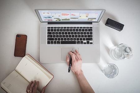 cellphone, съвременен, пръстите, стъкло, ръце, клавиатура, лаптоп