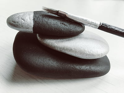 หิน, ก้อนกรวด, สีเงิน, สีดำ, ทาสี, ร็อค, ศิลปะ