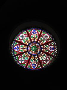 grønn, hvit, rød, skifer, glass, kirken vindu, Glassmaleri