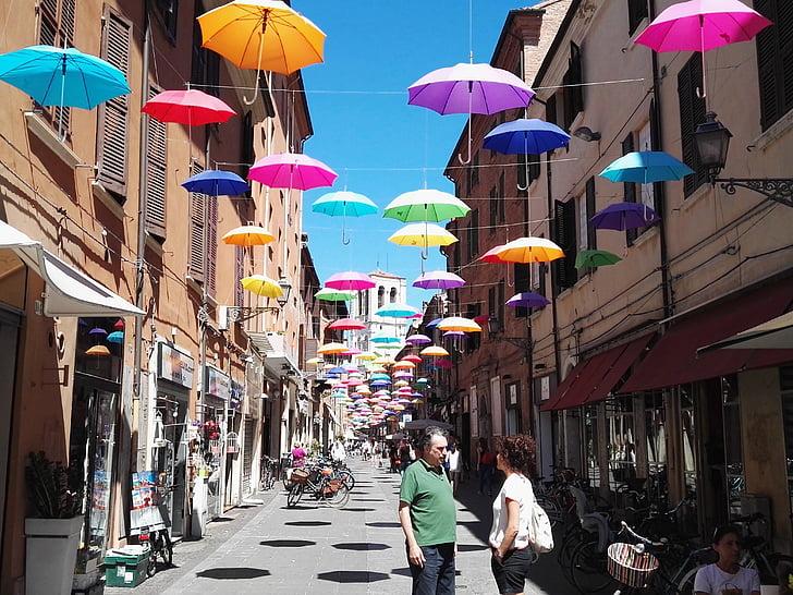 цветове, небе, чадър, Италия, цветни, град, улица