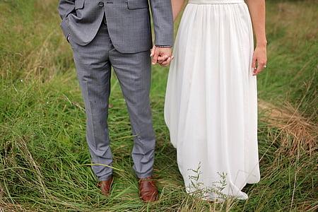 bride, bride and groom, field, groom, suit, wedding, wedding dress