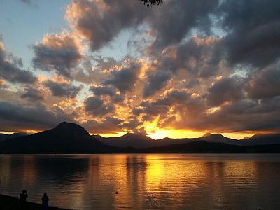 sončni zahod, jezero, nebo, oblaki, na prostem, scensko, mirno