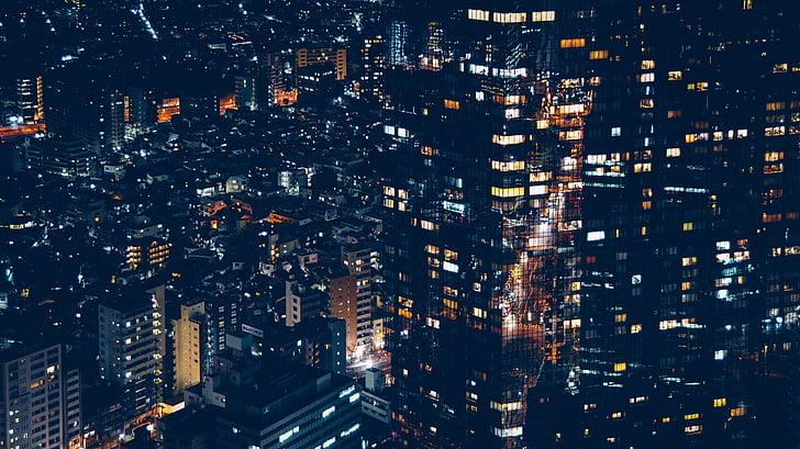 budynki, Miasto, gród, światła, noc, Urban, na zewnątrz budynku