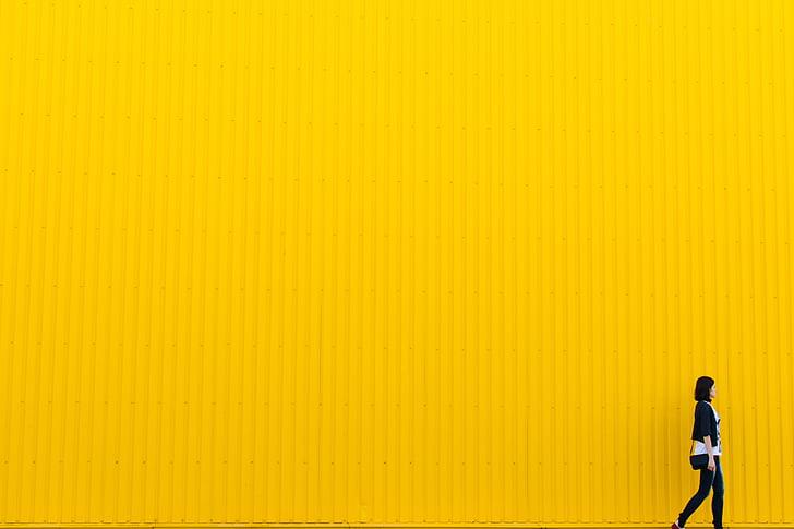 dzeltena, sienas, ēka, arhitektūra, meitene, sieviete, cilvēki