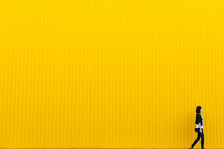 yellow, wall, building, architecture, girl, woman, people