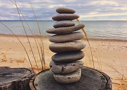 Roca, equilibri, apilada, pedres, Mar, còdols, platja