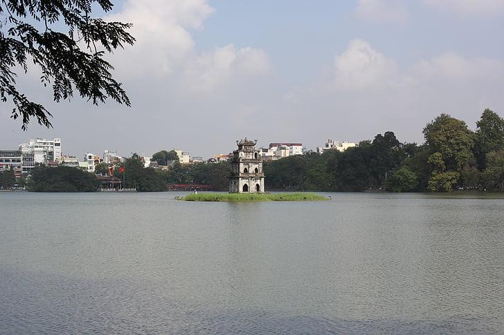 Hoan kiem-tótól, Ha noi, toll-torony, a park, a város, víz