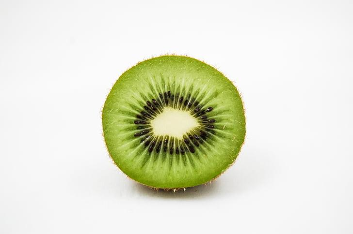 Kiwi, frugt, vitaminer, halvdelen, grøn, frisk, rigdommen af