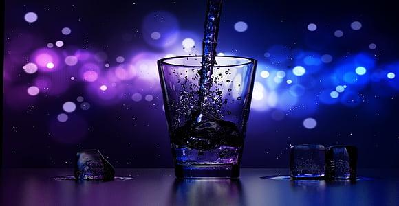 barra, begudes, fred, fresc, Cristall, cub, beguda