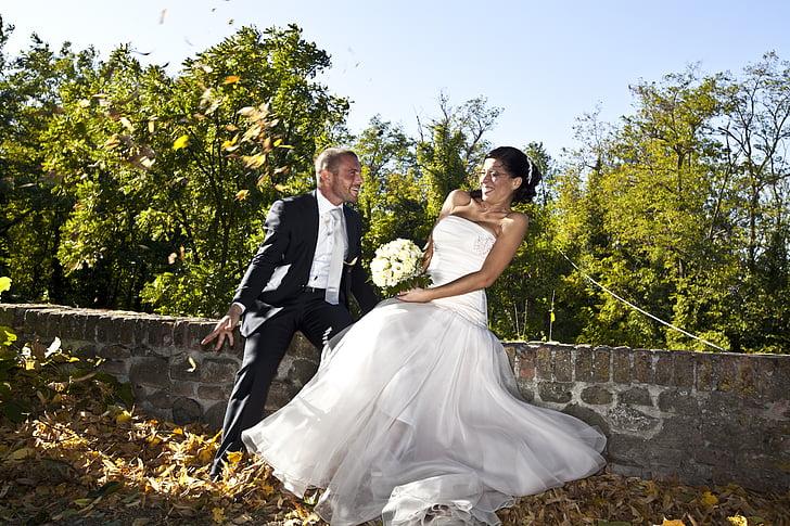 marriage, formal wear, dress, bride, groom, wedding, flowers