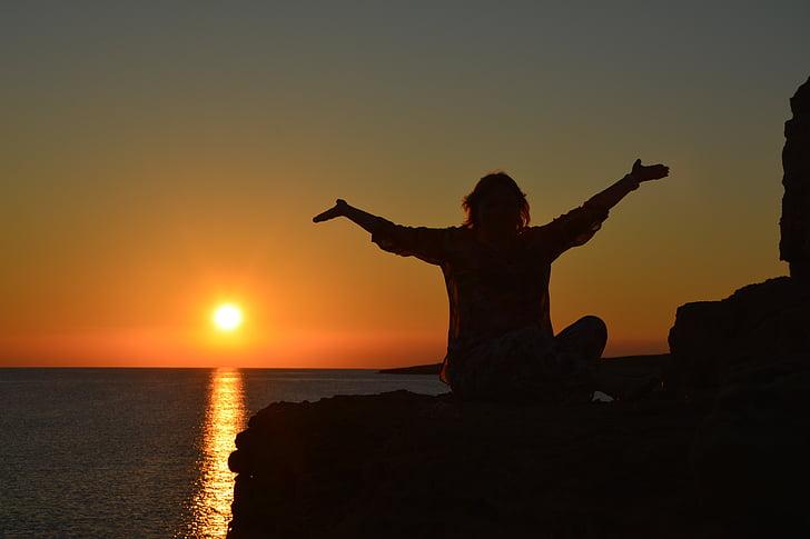 férias, mar, pôr do sol, Chipre, praia, à beira-mar, perspectivas