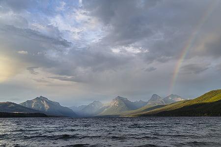 paisatge, Arc de Sant Martí, Llac mcdonald, muntanyes, Glacera del parc nacional, Montana, EUA