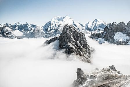 góry, Rock, pokryte, śnieg, szczyt górski, skalista alpinista, Góry Skaliste