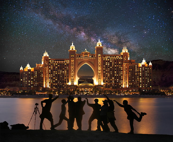 Dubai, Palma, Centro comercial, composición, creativa, Photoshop, Vía Láctea