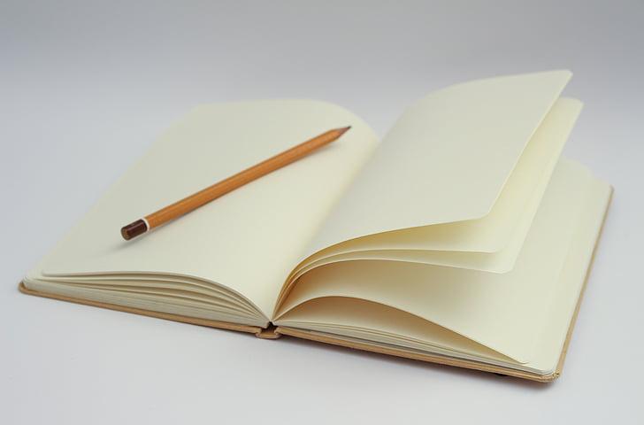 zápisník, psaní, prázdná stránka, začátek, začátek, myšlenky, Tužka