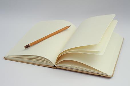 máy tính xách tay, bằng văn bản, trang trống, khởi đầu, bắt đầu, ý tưởng, bút chì