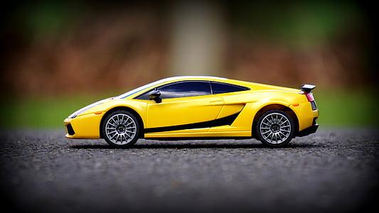samochód, Lamborghini, miniaturowe, samochód sportowy, Samochodzik, żółty