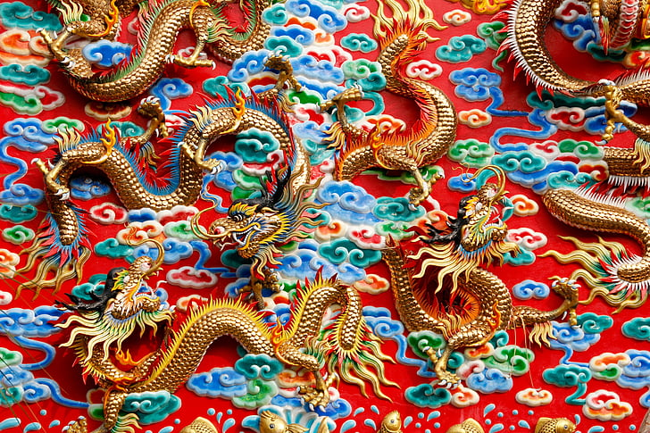 dragons, china, thailand, ornament, architecture, mythical creatures, statue