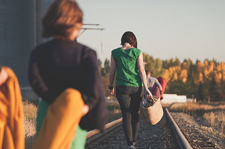girl, people, railway, walking, woman
