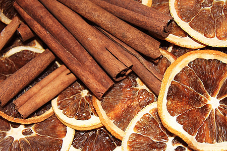 cinnamon, orange, oranges, slice, slices, stick, sticks