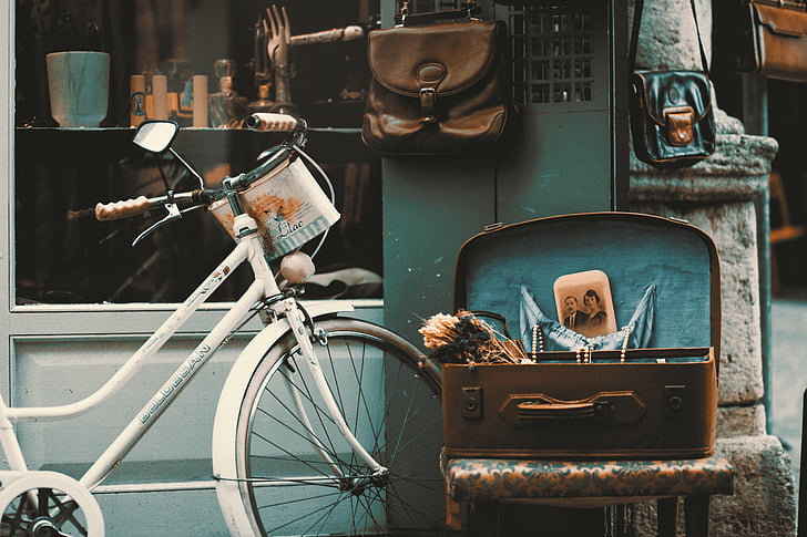 antiques, bicycle, bike, chair, daylight, history, leather bag