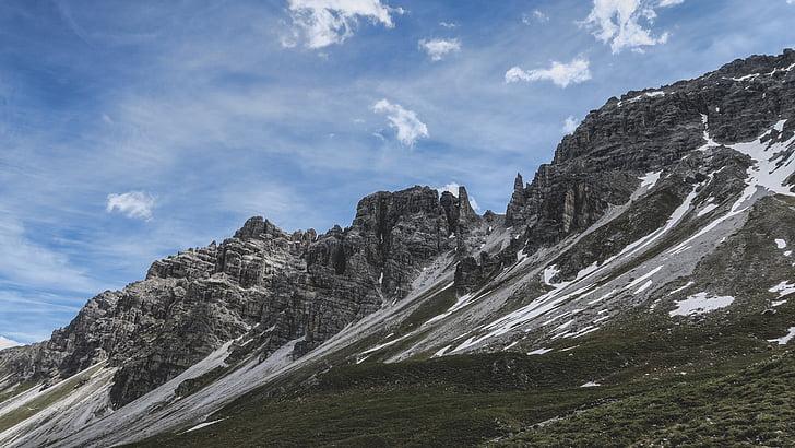 nuvens, paisagem, montanha, montanha rochosa, céu, natureza, pico de montanha