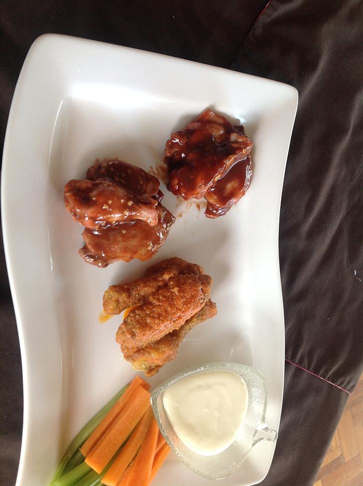 крила, барбекю, пряний, продукти харчування