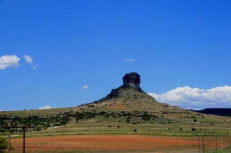 Butte, hory, Rocky, červená pôda, Zelená veld, Ker, Šikmá