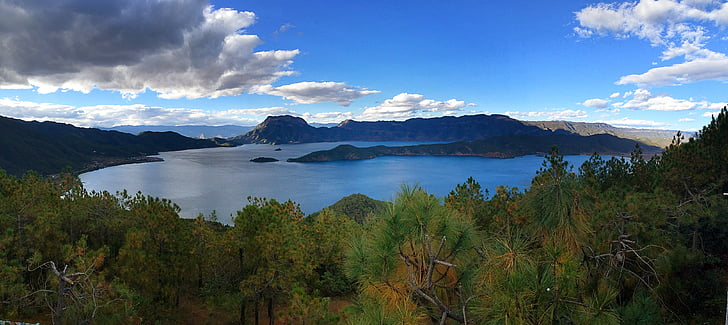 lugu lake full, panorama, afternoon, china, landscape, view