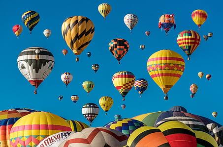 calenta, aire, globus, Festival, globus aerostàtic, núvols, volar