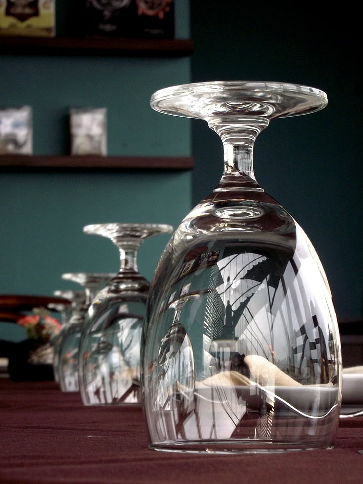 Copa de vi, vidre, contenidor, taula de menjador, reflexió, Gebre