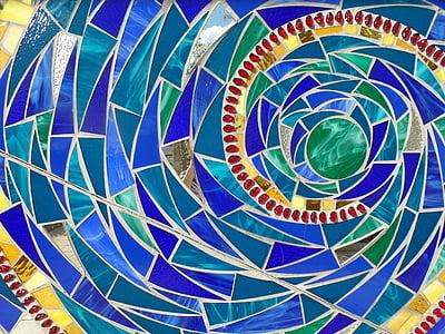 mosaic, glass, art, texture, colorful, geometric, shiny