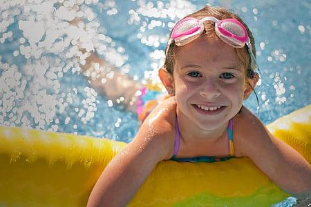 girl, inflatable, swimming, pool, wearing, bathing, suit