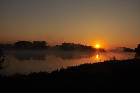 water, river, poland, the sun, dawn