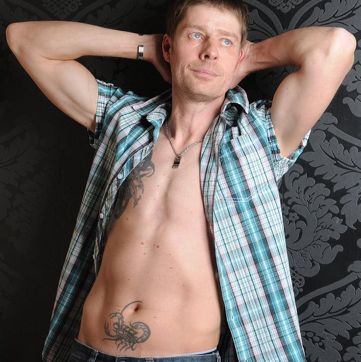 home, Retrat, tatuatges, mascle, atractiu, pell, home tatuat