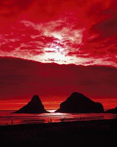 coucher de soleil, rocheux, littoral, rive, Côte, océan Pacifique, Sky