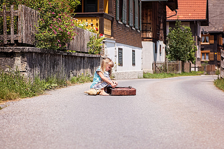 osoba, człowieka, dziecko, Dziewczyna, Schulweg, wieś, drogi