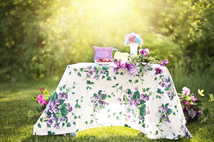 Sommer, fortsatt liv, mugge, hage, utendørs, teselskap, dag