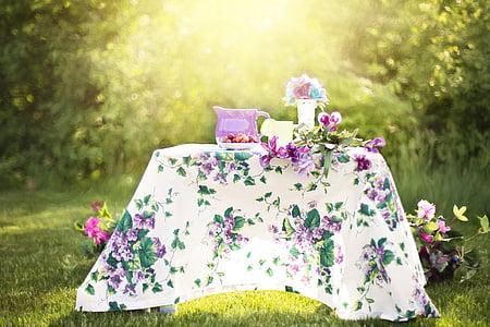 léto, Zátiší, džbán, zahrada, venku, čajový dýchánek, den
