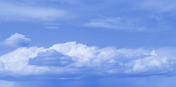 felhők, Sky, Cloudscape, kék ég felhők, kék ég, ég, bolyhos