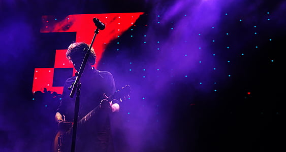 person, playing, guitar, concert, dark, night, microphone