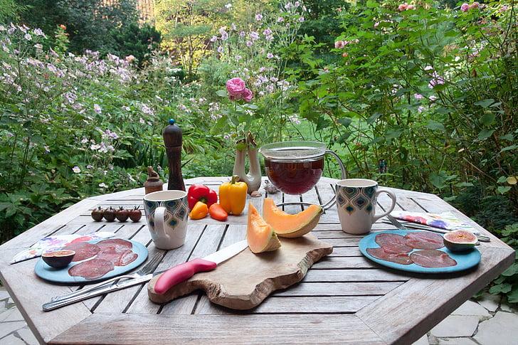 ตาราง, อาหารเช้า, สวน, ใน, ฤดูร้อน, ฝาครอบ, ทีออฟ