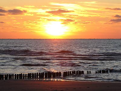 일몰, 비치, 여름, 노르 데 메이, 바다, 저녁 하늘, 북 해